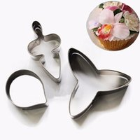 Wholesale 3pcs in kit Stainless Steel Bakeware Flower Leaf Shape Biscuit Decor Cake Chocolate Mold kitchen Tools Cookie Cutter Baking Moulds
