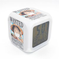 alarm pieces - New Led Alarm Clock One Piece Luffy Wanted Creative Desk Table Electronic Clock Digital Alarm Clock for Kids Toy Gift