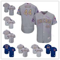 Baseball Men Short Custom 2017 Gold Program Chicago Cubs 12 Kyle Schwarber 44 Anthony Rizzo 17 Kris Bryant Baseball Jersey White Blue Grey Size S-6XL