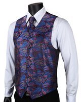 Wholesale- VE15 Purple Blue Paisley Top Design Hommes Mariés 100% Robe en Soie Veste Pocket Square Boutons de Manchette Cravat Set pour Suit Tuxedo