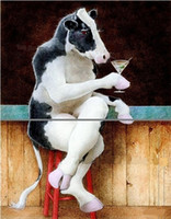 arts cow free shipping - Drinking Cow Pure Hand Painted Modern Wall Deco Cartoon Animal Art Oil Painting On Thick Canvas Mulit sizes Available C056