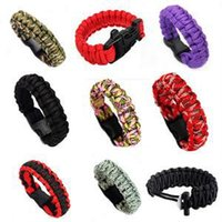 Wholesale Survival Self rescue Parachute Cord Paracord Bracelet Outdoor Camping Emergency Survival Escape Rope Buckle Travel Kit Random