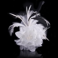 Clip & Pin beautiful red heads - 2017 New Beautiful Wedding Bridal Feather Hair Accessories Red White Head Flower Feather wedding tiaras crowns