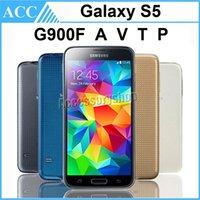 Wholesale Original Refurbished Samsung Galaxy S5 G900F G900A G900V G900T G900P inch Quad Core GB RAM GB ROM G LTE Original Battery Phone DHL