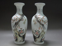 antique porcelain vases pair - Chinese Famille Rose porcelain a pair vases Painted Cicada Tree flower old vase