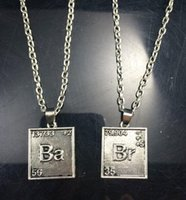 bad necklaces - Breaking Bad Necklace Chemical Symbol Br Ba Square Pendants Love Badge for Couple Necklaces Unisex Statement Movie Jewelry