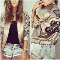 basic jackets - New Hot Autumn Women Long Sleeve Letter Printed Satin Bomber Jacket Casual Harajuku Zipper Thin Baseball Basic Coat Outwear