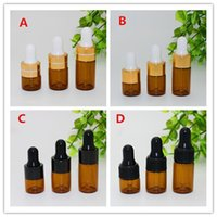 Wholesale ml ml ml Amber Glass Dropper Bottles with Gold Black Cap For Essential oil Small Perfume vials Dripper Bottle Free DHL