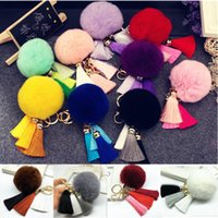 Wholesale Tassels Keychains Rabbit Fur Plush Ball Metal Car Key Keychains Wallet Phone Pendant Decoration Fashion Accessories Free DHL