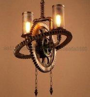 achat en gros de engrenage tête conduit-Fer Loft style tuyaux d'eau lampe pendante Personnalité Industrial Double-tête Gear Vintage pendentif lumière Restaurant Bar Café Art MYY