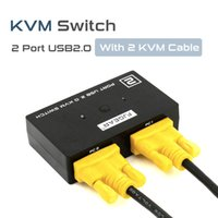 Wholesale KVM Switcher Mouse Video Keyboard Console Ports USB Manual switch Mhz with KVM Cable New Computers Use monitor