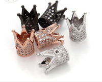 Wholesale 30pcs Crown Rhinestone European Style Charm Beads Micro Pave Metal Crystal Spacer Beads For Bracelet Diy Jewelry Making x10mm