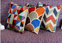 Wholesale 1 Nordic Vintage Cushion Cover Colorful Plaid Geometric Cushions For Sofa Seat Luxury Home Decor