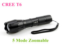 Wholesale Black CREE XML T6 Lumens High Power LED Torches Zoomable Tactical LED Flashlights torch light for xAAA or x18650 battery