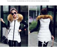 Wholesale Women Winter Vest Waistcoat Womens Long Vest Sleeveless Jacket Faux Fur Collar Hooded Down Cotton Warm fashion Vest Female