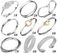 Wholesale Silver Charm Bracelets Luxury - Silver Carved Plum Bangles New Classic Women luxury Brand Bracelet charm 925 Sterling Silver Fashion Jewelry Silver Bangle Women
