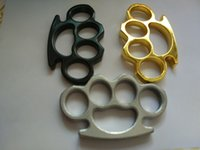 Wholesale DHL Shipping Gold Silver and Black Thin Steel Brass knuckle dusters Self Defense Personal Security Women s and Men s self defense Pendant
