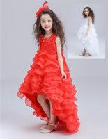 Wholesale 2017 White or Red Gown Lace Satin Baby Princess Bridesmaid Prom Princess Pageant Bridesmaid Wedding Flower girl Floor Length dress