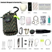 backpacking fishing kit - Survival Gear Paracord Emergency Kit First Aid Kit Emergency Food finding Fishing Gear Baits Compass Emergency Fire Outdoor Gadgets B0957