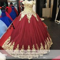 Wholesale Gold Lace Appliques Arabic Long Prom Dresses A Line Sweetheart Plus Size Red Burgundry African Indian Kaftan Formal Evening Party Gowns