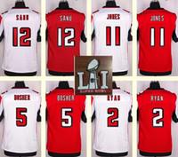 Wholesale 2017 Super Bowl Atlanta Men s Matt Bosher Julio Jones Matt Ryan Sanu Red White Top Quality Elite jerseys Sport jerseys
