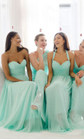 Wholesale 2017 Mint Green Bridesmaid Dresses Sweetheart A line Chiffon Long Maid Of Honor Gowns For Women Bridesmaids Cheap Price