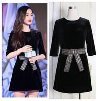Wholesale New design fashion women s runway style velvet bow decoration autumn winter black short dress long sleeve half sleeve XSSMLXLXXL