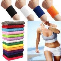 Wholesale HOT Unisex Cotton Sweat Band Sweatband Basketball Wristband Arm Band Tennis Gym Yoga Wristband Cotton Band Wrist Support