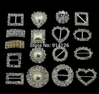 al por mayor venta al por mayor hebillas de diamantes de imitación cuadrado-La venta al por mayor-30pcs cuadrado / HeartRound / grado de la perla una boda cristalina del botón del racimo de la cinta del Rhinestone de Diamante invita adornos