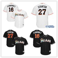 Wholesale 2017 Men s Miami Marlins Giancarlo Stanton Jose Fernandez Majestic Black Alternate Cool Base baseball Jersey stitched Jersey
