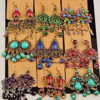 Wholesale Vintage long tassel alloy diamond geometric folk style earrings selling Earrings