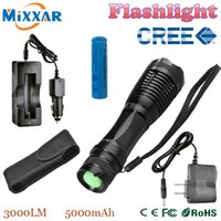 Wholesale ZK20 CREE XM L T6 Lumens Mode Zoomable Tactical LED Flashlight Torch Light for xAAA or x18650 Battery