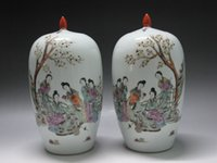 Carved antique porcelain vases pair - China Famille Rose porcelain One pair vases Melon shape Painted figure Verse W92