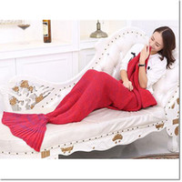 Wholesale Cheap Priced Blankets - cheap price knitting bag sleeping bag weaving wool knitting mermaid tail warm bag for you when reading or playing lol game or working