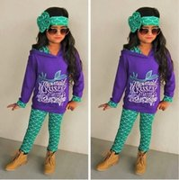 Wholesale Fashion Toddler Kids Girls Mermaid Clothes Hoodie Tops Pants Legging Outfits Set T