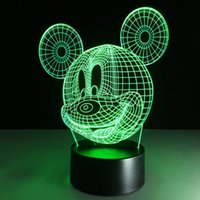 Figure No No Free Shipping Child's Favorite Mickey Mouse 3d led Night Light lamp Seven Colors Warm Baby Room Novelty Night Light