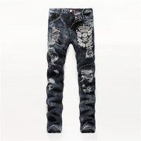 Men alternative body - New men s alternative straight body Slim hand embroidery skull gray men s hole jeans