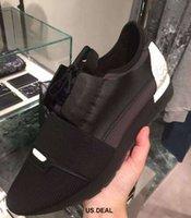 Precio de Designer brand name men shoes-2018 El más nuevo nombre del diseñador Marca Hombre Mujer Zapatos Zapatos Chaussure Moda Desnudo Negro Malla De Cuero Lace Up Trainer Casual Shoes