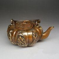 antique teapot markings - Antique Collection Folk Art Chinese Brass Hand carved pumpkin shape teapot Daqing Mark