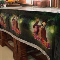 Wholesale Lovely cm disposable Birthday tablecloth Cartoon Masha and the Bear kids happy birthday party plastic tablecover supplies