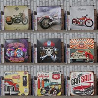 Wholesale x30cm retro motorcycle garage route metal painting signs plaques for bar pub home wall decor tin sign poster