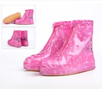 Wholesale 1 pairs reusable Rain shoes cover Women men thicken waterproof Boots Cycle Rain Flat Slip resistant Overshoes Rainwear