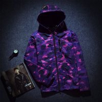 Wholesale 2017 Autumn Shark mouth hoodie printing camouflage ture brand Trench coat sweatshirts top mens designer clothes plus size purple XL