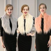 Wholesale 2017 Winter Warm Fashion Imitation Fox Fur Solid Bride Wedding Dress Wedding Cloak Coat Imitation Fur Shawl B