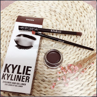 Wholesale 3 in Kylie Eyeliner and Gel Liner Eyeshadow Brush Birthday Edition Kylie Jenner Kit Black Dark Bronze Brown