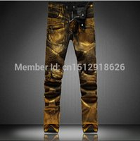 ba coats - New Arrivals Fashion Ba Man Gold coating Denim cool Jeans Famous Brand Slim Straight Ripped Thickening Jeans for Men