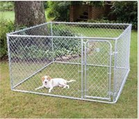 Wholesale 7 x13x6ft Standard Outdoor Temporary Dog fence PVC Coated Chain Link Dog Kenel Dog Runs and Pens Wire Mesh Kennels