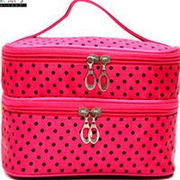 Wholesale Double Layer Small Dots Makeup Cosmetic Make Up Organizer Bag Box Case Women Men Casual Travel Multi Functional Tool Storage Handbag