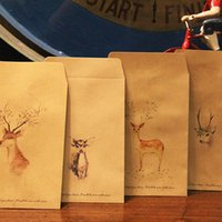 Wholesale Retro Kraft Envelope Classic Deer Printing Paper Envelope with Letter Paper Personality Note Paper Style Gifts Supplies