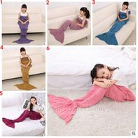Wholesale Kids Mermaid Blankets Handmade Mermaid Tail Blankets Mermaid Tail Sleeping Bag Knit Sofa Warmer Air condition Knit Blanket